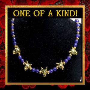Golden Wolves & Purple Agate Necklace #566